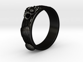 Sea Shell Ring 1 - US-Size 3 (14.05 mm) in Matte Black Steel