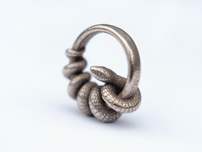Reverse Snake Ring in Polished Bronzed Silver Steel