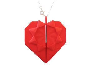 Origami Heart Pendant in Red Processed Versatile Plastic