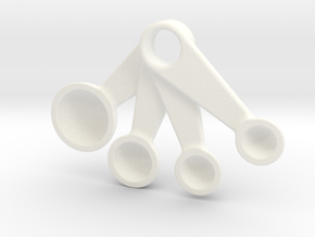 Measuring Spoons Pendant in White Processed Versatile Plastic
