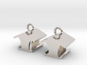 Open Bird Feeder Earrings in Rhodium Plated Brass