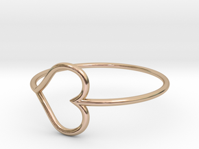 Size 7 Love Heart in 14k Rose Gold