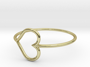 Size 8 Love Heart in 18k Gold Plated Brass