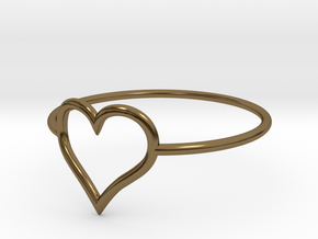 Size 6 Love Heart A in Polished Bronze