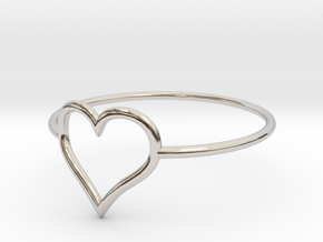 Size 7 Love Heart A in Rhodium Plated Brass
