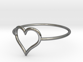 Size 8 Love Heart A in Fine Detail Polished Silver