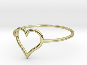 Size 9 Love Heart A in 18k Gold Plated Brass