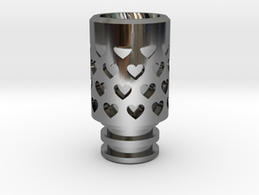 Vanishing Hearts Driptip in Fine Detail Polished Silver