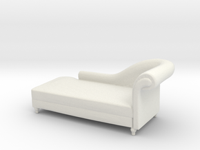 Miniature 1:48 Chaise Lounge in White Natural Versatile Plastic