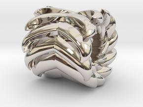 V Bead 1 in Rhodium Plated Brass