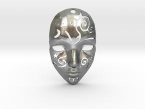 Festival Mask Pendant in Natural Silver