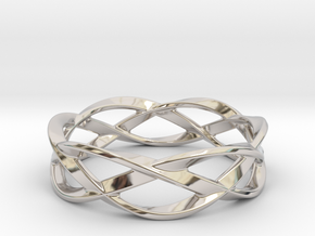 Weave Ring (Large) in Rhodium Plated Brass