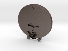 Funky Afro Girl in Polished Bronzed Silver Steel
