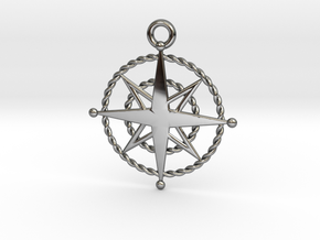 Compass Rose Keychain in Fine Detail Polished Silver