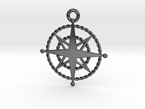 Compass Rose Keychain in Polished and Bronzed Black Steel