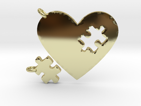 Heart Puzzle Keychains in 18k Gold Plated Brass