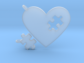 Heart Puzzle Keychains in Smooth Fine Detail Plastic