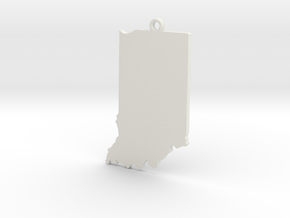 Indiana State Keychain in White Natural Versatile Plastic