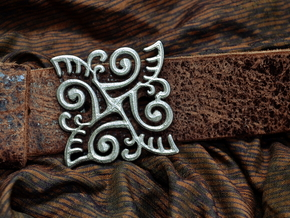Ornate Belt Buckle  in Polished Nickel Steel