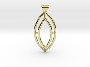 Marquise Simple Wire Pendant - Large in 18k Gold
