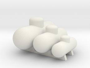 Tank Assortment 'O' Scale No Base in White Natural Versatile Plastic