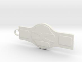 Wrestling Belt Keychain in White Strong & Flexible