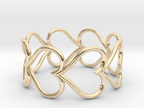 Size 6 Love Heart D in 14k Gold Plated Brass