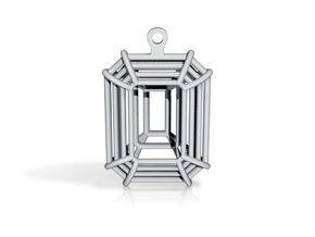 3D Printed Diamond Emerald Cut Earrings (Large)  in 14k Gold Plated Brass