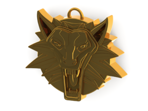 Two Sided Wolf Head Medallion Pendant in 14K Yellow Gold