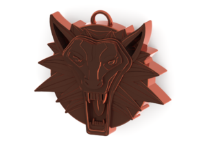 Two Sided Wolf Head Medallion Pendant in Polished Bronze
