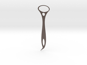 Tongue Scapper - Tooth Picker 02 in Polished Bronzed Silver Steel