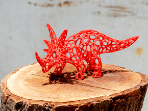 Styracosaurus Voronoi Wireframe in Red Strong & Flexible Polished