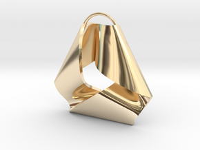 Mobius Triangle Pendant (Large) in 14k Gold Plated Brass