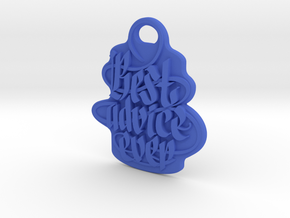 Motivating Customizable Keychain in Blue Processed Versatile Plastic