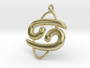 Cancer Pendant in 18k Gold Plated Brass