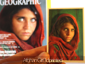 Afghan Girl 3d Photo in Full Color Sandstone