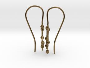 Caffeine molecule earrings with fishhook loops  in Polished Bronze