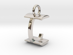 Two way letter pendant - CI IC in Rhodium Plated Brass