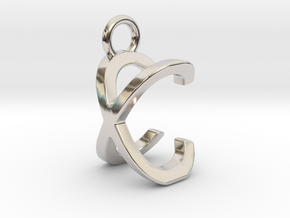 Two way letter pendant - CX XC in Rhodium Plated Brass
