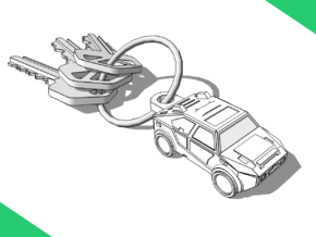 Car Keychain (Customizable!) in White Natural Versatile Plastic