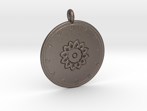 Mandala Pendant  in Polished Bronzed Silver Steel