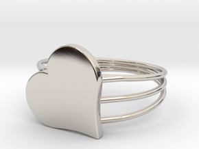 Size 8 Heart For ALL in Rhodium Plated Brass