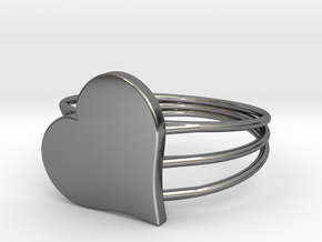 Size 10 Heart For ALL in Fine Detail Polished Silver