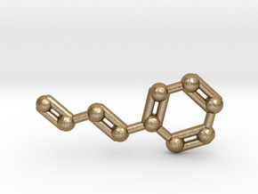 Cinnamaldehyde (Cinnamon) Molecule Keychain in Polished Gold Steel