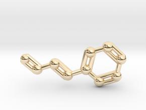 Cinnamaldehyde (Cinnamon) Molecule Keychain in 14K Yellow Gold