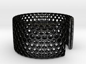 Geotombik Bracelet / Cuff in Matte Black Steel