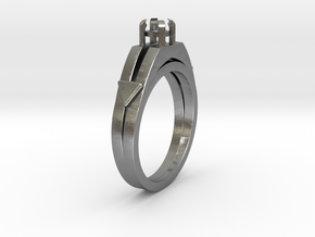 Ø16.51 Mm Diamond Ring Ø3.7 Mm Round Fit in Natural Silver