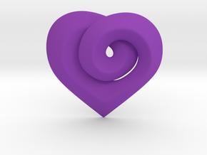 Twisted ☆ Heart Pendant  in Purple Processed Versatile Plastic