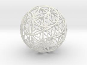 3D 88mm Orb of Life (3D Flower of Life) in White Natural Versatile Plastic