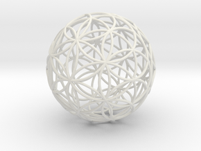 3D 88mm Orb of Life (3D Flower of Life) in White Natural Versatile Plastic